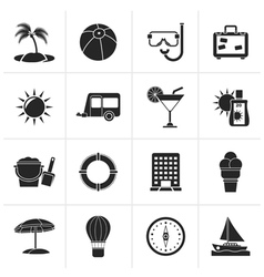 Black Vacation and holiday icons vector image