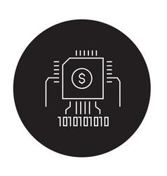 blockchain knowledge black concept icon vector image