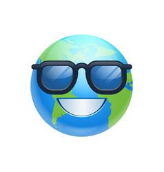 Cartoon earth face happy smile wearing sun glasses vector