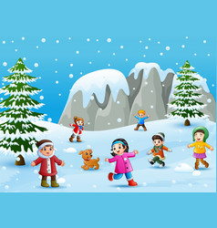 Cartoon kids and dog playing in the snow vector