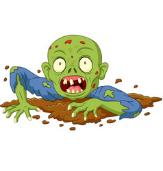 cartoon zombie out of the ground isolated on white vector image