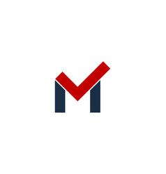 check letter m logo icon design vector image