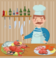 chef cooking seafood on th kitchen vector image