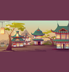 chinese village street with old typical houses vector image