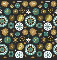 Christmas gold folk ornament seamless pattern vector