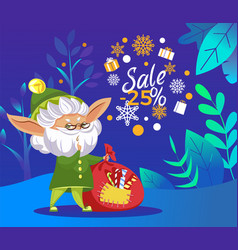 christmas sale elf with sack gifts in forest vector image