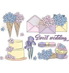 Clip arts sweet wedding color vector