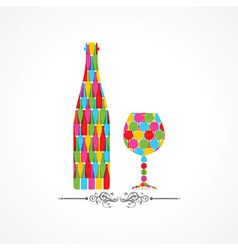 Colorful wine bottle and glass vector image