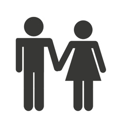 Couple silhouette isolated icon vector