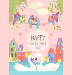 cute birds in love celebrating valentines day vector image