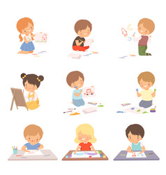 cute children sitting on floor and drawing vector image