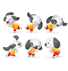 Cute dog character action vector