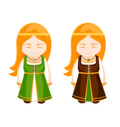 cute irish girls in national dress vector image