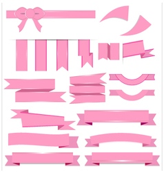 Cute pink ribbons set isolated on white background vector image