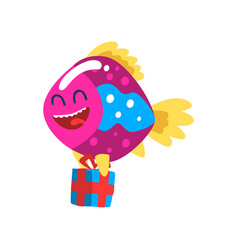 cute smiling fish with gift box little sea vector image