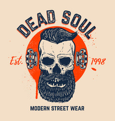 Dead soul bearded skull on grunge background vector