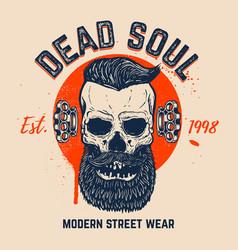 dead soul bearded skull on grunge background vector image