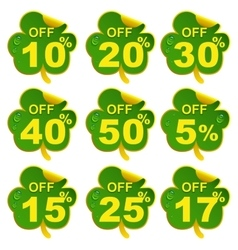 Discount sale leaf clover 17 percent offer in St vector image