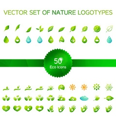 Ecology icons nature logo vector image