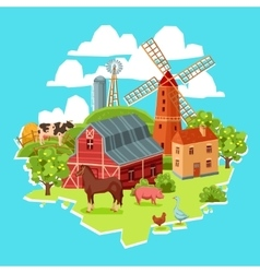 Farm multicolored concept vector