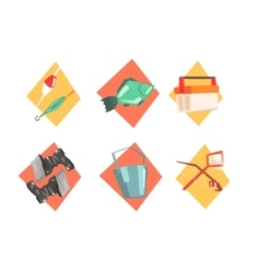 Fishing Kit Elements In Isolated Icons vector