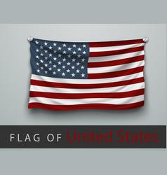 flag of usa battered hung on wall vector image