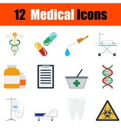 Flat design medical icon set vector image