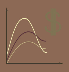 Flat icon on theme arabic business dollar chart vector