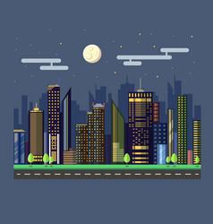 flat style modern design urban night city vector image