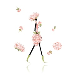 Floral girl for your design vector image