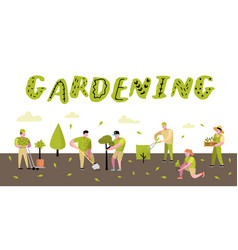 gardening cartoons characters with plants and tree vector image