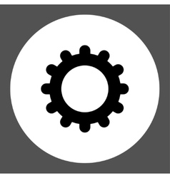 Gear flat black and white colors round button vector