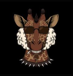 Giraffe head smoke vector