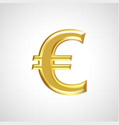 golden euro sign symbol vector image