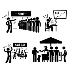 Good business day stick figure pictogram icons a vector