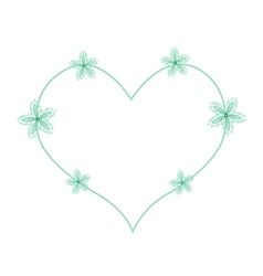 Green Ivy Flowers in A Heart Shape vector image