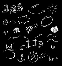Hand drawn collection design element curly vector