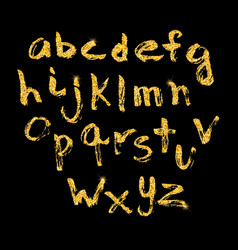 hand drawn glitter golden alphabet in calligraphy vector image
