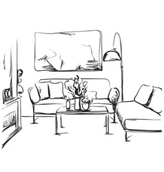 Hand drawn room interior sketch chair table vector