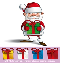Happy Santa Holding a Gifts vector image