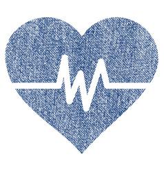 Heart pulse fabric textured icon vector