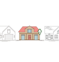 horizontal outline drawing a country house vector image