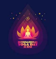 International yoga day abstract lotus and man vector