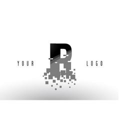 Ir i r pixel letter logo with digital shattered vector