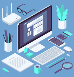 isometric busies office workspace elements vector image