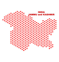 Jammu and kashmir state map - mosaic of love vector