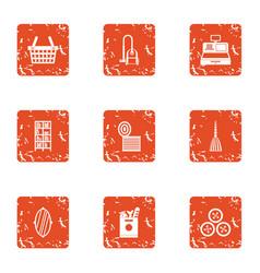 Kitchen shop icons set grunge style vector