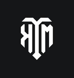 Km logo monogram design template vector