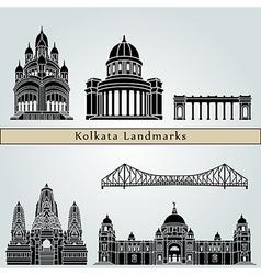 Kolkata landmarks and monuments vector image