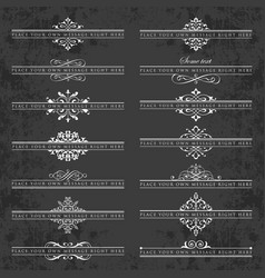 Large collection ornate headpieces on chalkboard vector